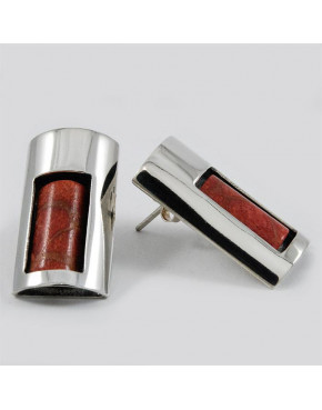Kolczyki srebrne z koralowcem SA 420 9.1g