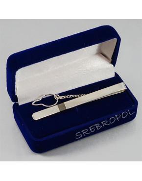 Srebrna spinka do krawata z czarnym paseczkiem S-K 32/0