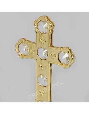 Złota figurka krzyżyk z kryształkami swarovskiego 122-0072