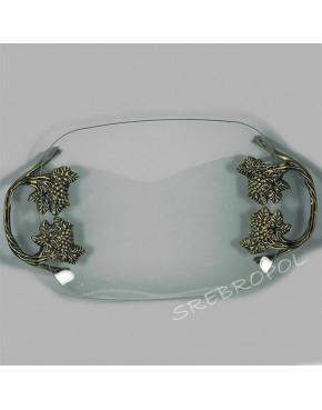Patera szklana z elementami mosiądzowanymi - winorośl 462-2356