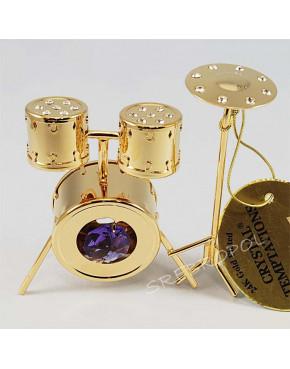 Złota figurka perkusja z kryształkami swarovskiego 122-0255