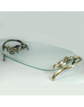 Patera szklana elementami mosiądzowanymi - różyczki 462-2366