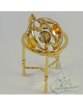Złota figurka globus z kolorowymi kryształkami swarovskiego 366-0185