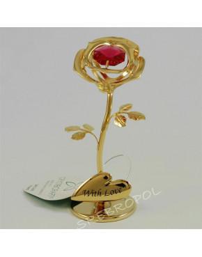 Złota figurka kwiatek z kolorowym kryształkiem swarovskiego 366-0243