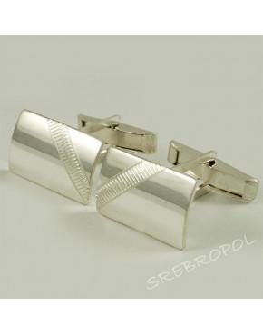 Srebrne spinki do mankietów z grawerowanym wzorkiem S10-M 49/0