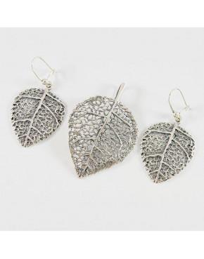 Komplet srebrny liść wisiorek + kolczyki W20/0 K26/0