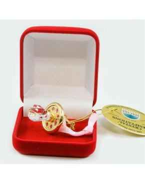 Złota figurka mini smoczek z kryształkami swarovskiego + etui 122-0302