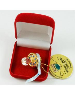 Złota figurka mini smoczek z kryształkami swarovskiego + etui 122-0301