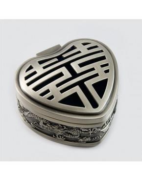 Cynowana szkatułka w kształcie serca - smoki 461-4462