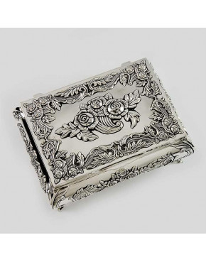 Kasetka posrebrzana na biżuterię  z różyczkami 472-4067