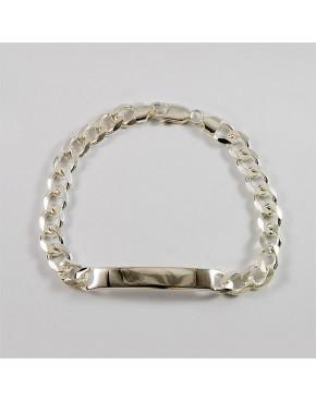 Bransoletka srebrna pancerka z blaszką BRA36