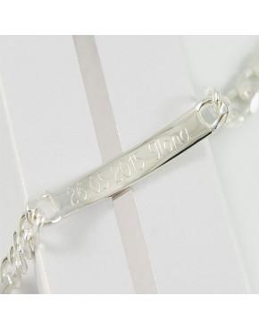 Bransoletka srebrna figaro z blaszką + opcja grawer BRA30