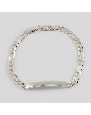 Bransoletka srebrna figaro z blaszką + opcja grawer BRA28