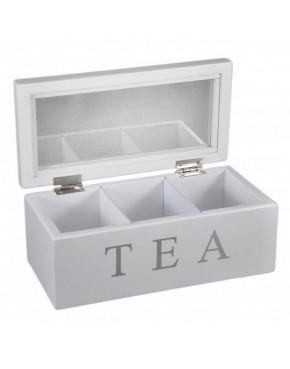 Biała, drewniana skrzynka na herbatę 777-235B