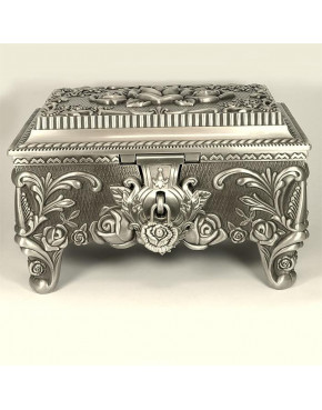 Duża cynowana szkatułka na biżuterię 461-4816