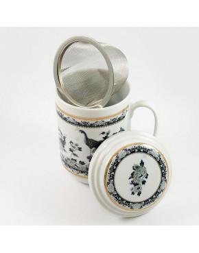 Kubek z zaparzaczem - porcelana japońska Pawie POR130N