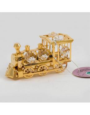 Złota figurka lokomotywa z kryształkami swarovskiego 122-0076