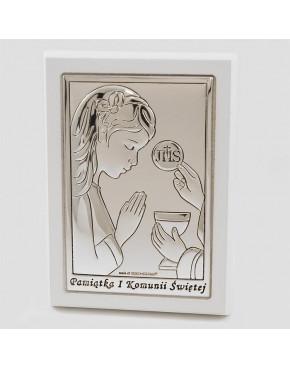 Ikona, obrazek srebrny - Pamiątka I Komunii Świętej 6491/2AW