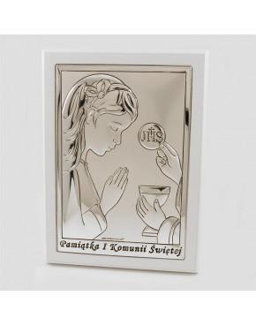 Ikona, obrazek srebrny - Pamiątka I Komunii Świętej 6491/2XAW