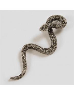Komplet srebrny wisiorek i kolczyki  z markazytami - węże