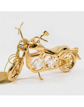 Złota figurka motocykl z kryształkami swarovskiego 122-0163