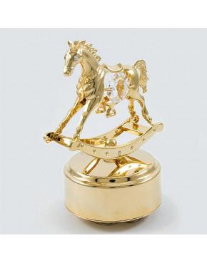 Złota pozytywka koń na biegunach z kryształkami swarovskiego 12320