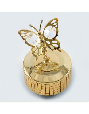 Złota pozytywka motyl z kryształkami swarovskiego 12309