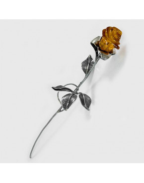 Róża srebrna z bursztynem 94/OP