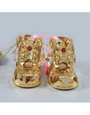 Złota figurka Buciki z różową wstążeczką i kryształkami swarovskiego 122-0218