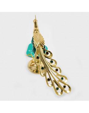 Złota figurka paw z kryształkami swarovskiego 366-0026