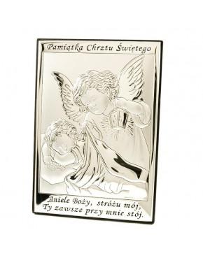 Anioł stróż z latarenką nad dzieckiem - Pamiątka Chrztu Świętego 6572/2X