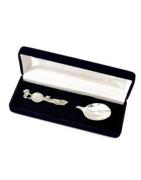 Łyżeczka srebrna - bocian AN139