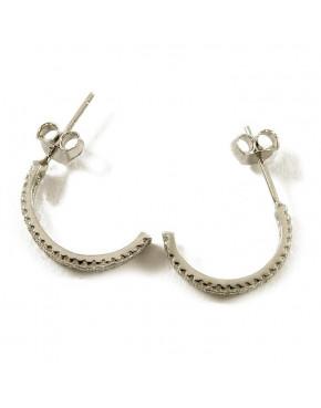 Kolczyki srebrne półokrąg z cyrkoniami AN22