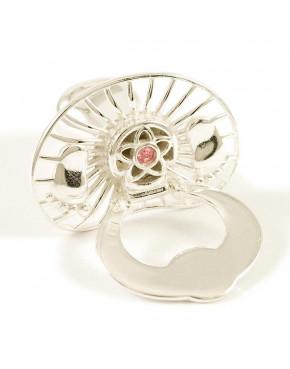 Srebrny smoczek otwierany - różowy kryształek S2