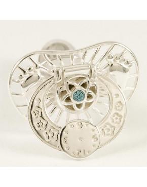 Srebrny smoczek otwierany - niebieski kryształek S3