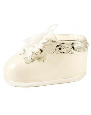 Skarbonka - biały bucik dla dziecka 473-3285