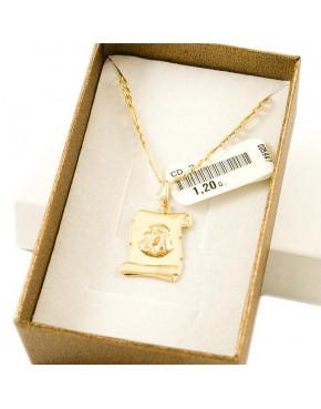 Medalik złoty Matka Boska + złoty łańcuszek figaro pr. 585 ZŁ4