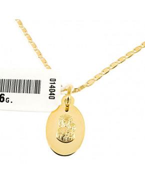 Złoty medalik z łańcuszkiem Matka Boska Częstochowska pr 585 ZŁ21