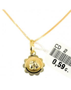 Złoty medalik z łańcuszkiem Matka Boska pr. 585 ZŁ22