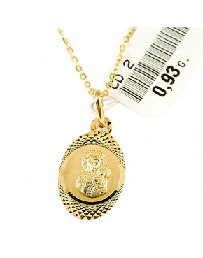 Złoty medalik z łańcuszkiem Matka Boska Częstochowska pr 585 ZŁ23