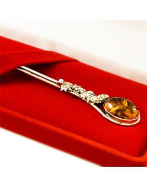 Łyżeczka srebrna z bursztynem ŁYŻ1