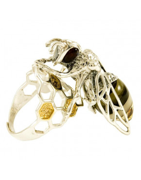 Pierścionek srebrny pszczoła z bursztynem PIE1