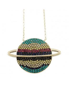 Naszyjnik srebrny saturn - kolorowe cyrkonie NAS1