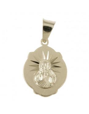 Medalik srebrny Jezus Chrystus, Matka Boska Szkaplerzna M33