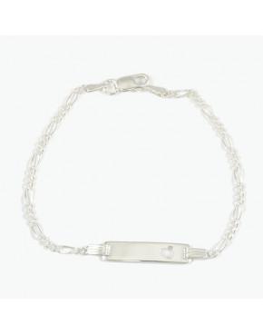 Bransoletka srebrna figaro z blaszką BRA15