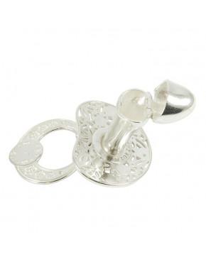 Srebrny smoczek otwierany - różowe kryształki S5