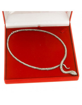 Naszyjnik srebrny wąż z markazytami NA1