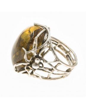 Pierścionek srebrny pająk z bursztynem PIE3