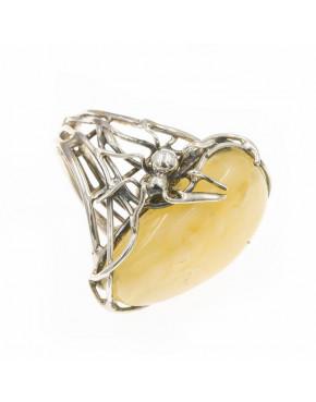 Pierścionek srebrny pająk z bursztynem PIE4