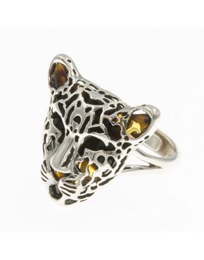 Pierścionek srebrny tygrys z bursztynem PIE5